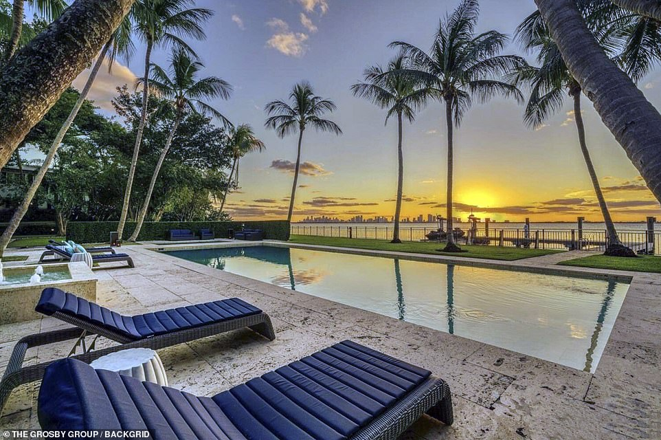 Orianne Cevey, 46, and her new husband Thomas Bates, 31, finally packed their bags and vacated the home earlier this week ahead of a court-mandated deadline to leave. Pictured: Lounging chairs by the side of the pool of the stunning property