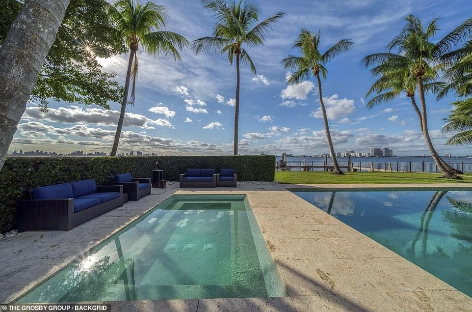 According to court filings, the Against All Odds gave the couple until October 12 to pack their bags and move so he could put the plush property up for sale. Pictured: The mansion features two pools looking out onto the water