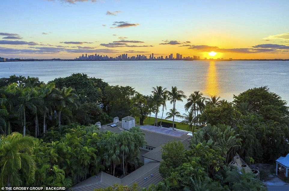 However the relationship ended, seemingly for good, when he discovered Orianne had 'secretly' married 31-year-old Bates in Las Vegas on August 2. Pictured: The large property is set on the water in Miami