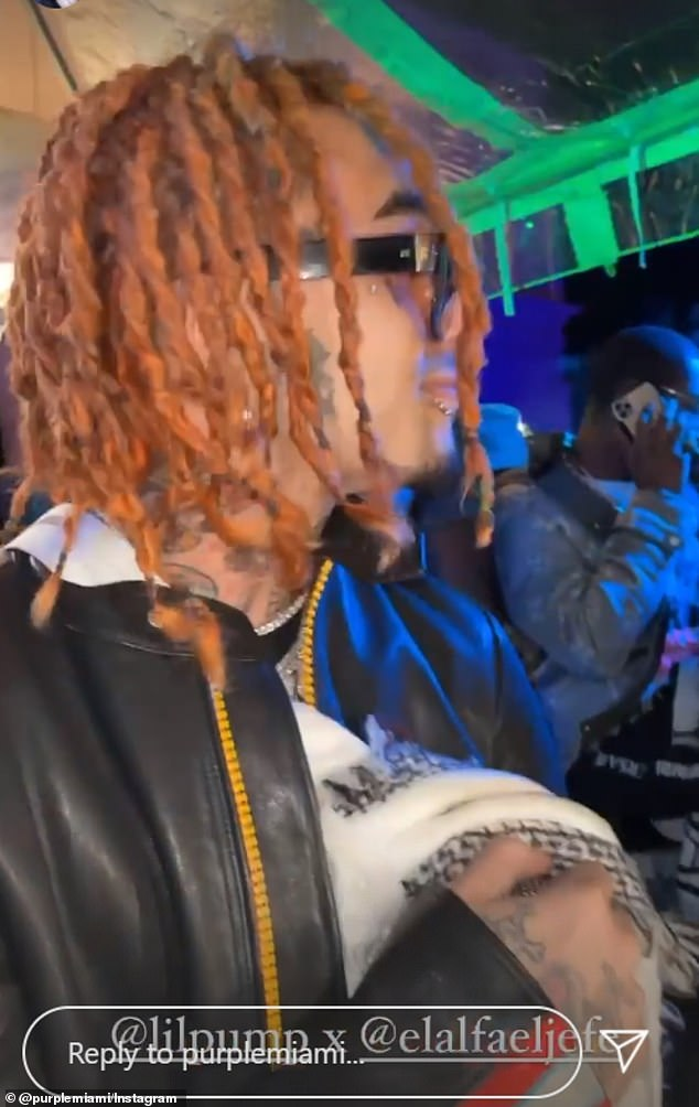 Guests at the extravagant event enjoyed a private concert with performances by rapper Lil Baby, 24kGoldn and Gucci Mane. Rapper Lil Pump pictured without a mask on at the Saturday Star Island bash