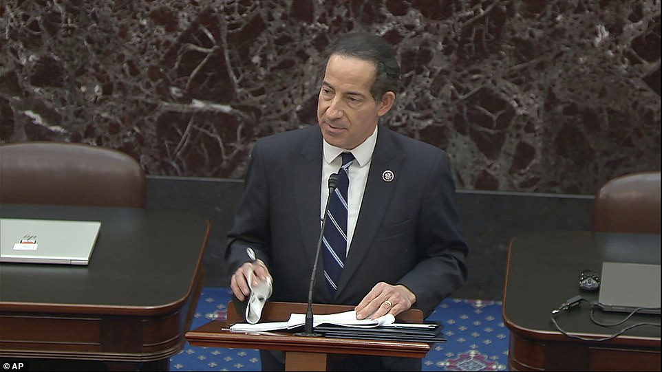 Starting the case: Democrats' lead impeachment manager Jamie Raskin, who will oversee the prosecution of Trump, reads the article
