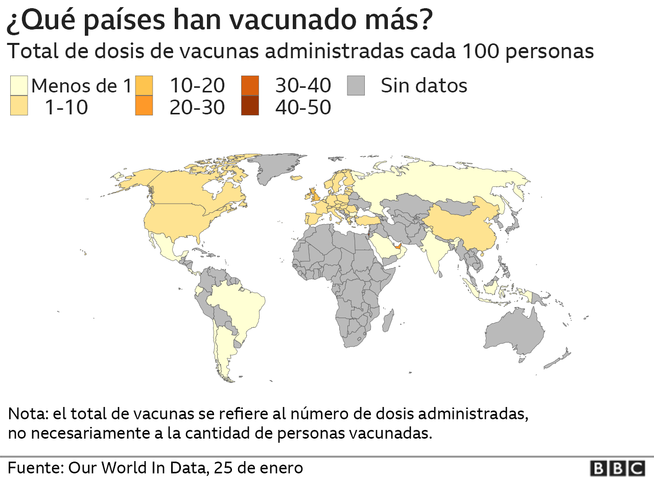 The map of the vaccination of the covid-19 in the world.