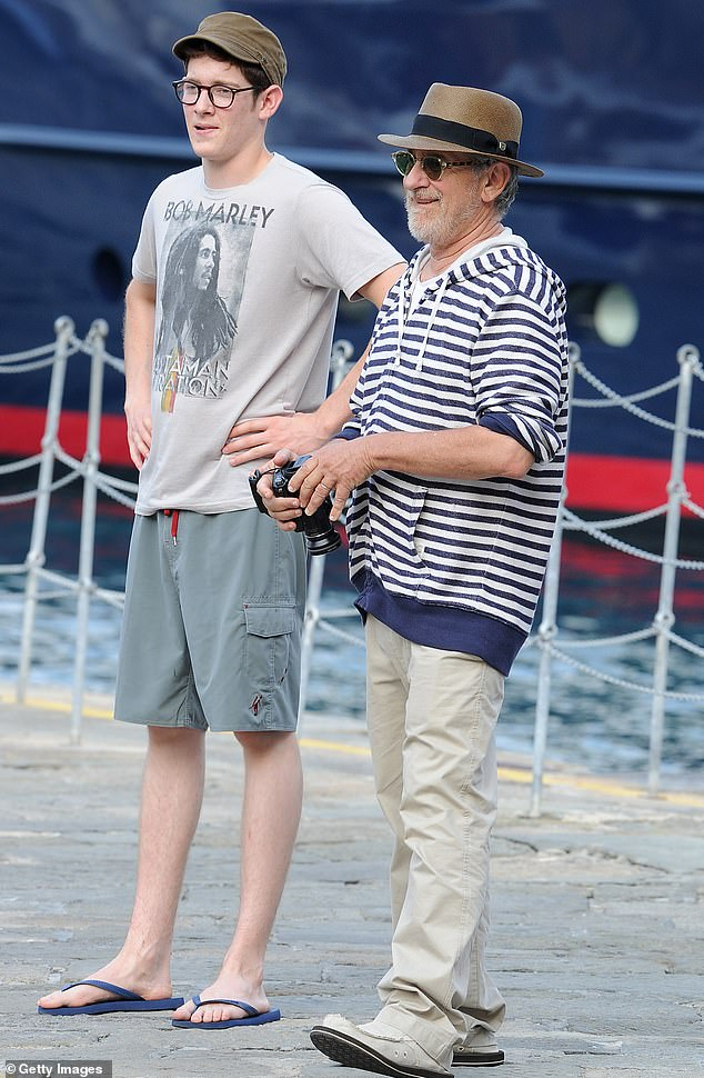 Team: Sawyer made a brief appearance in his father's movie The Post in 2017. They are pictured here in Portofino in 2011