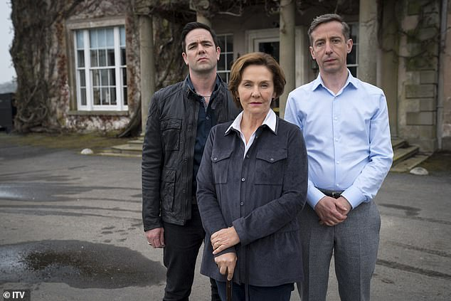 While he was shot in the head by the family, Keira, Marcella's alias, is left becoming closer to the criminals as she continues her affair with Finn (Aaron McCusker), one of two sons belonging to the cold-hearted matriarch Katherine (Amanda Burton) (pictured centre)
