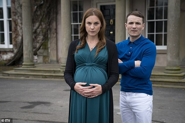 Katherine's daughter, Stacey, is heavily pregnant and married to reckless and dangerous Bobby (pictured together) who works for the business but has a secret drug deal as a sideline