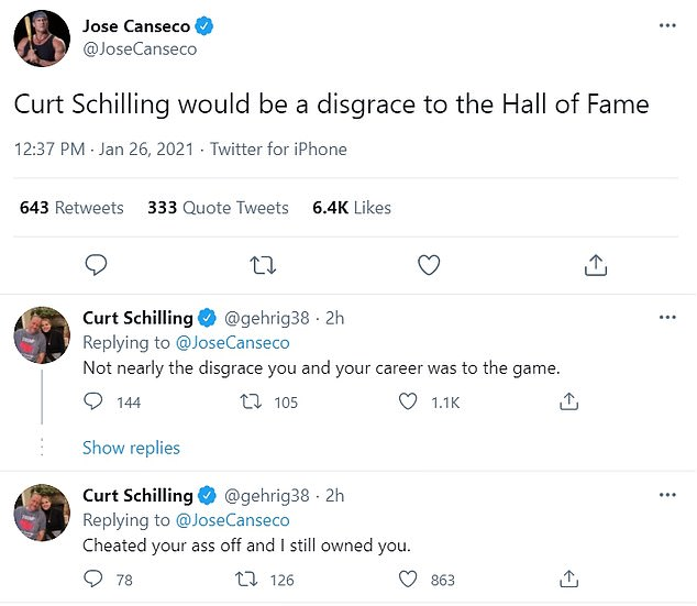 Admitted steroids user Jose Canseco said inducting Schilling would be a 'disgrace' to the Hall of Fame, which the former Red Sox and Diamondbacks pitcher apparently objected to