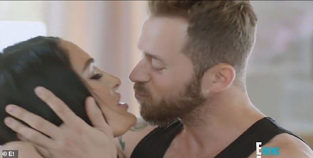 Better days: The two are seen kissing here on her TV show Total Bellas