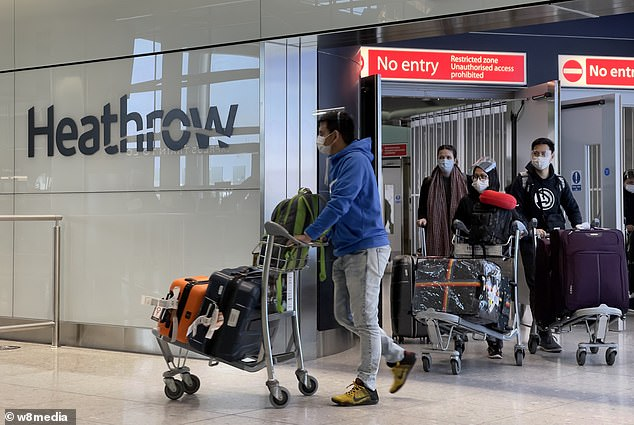 Ministers will outline plans today to force British travellers to quarantine in airport hotels, despite warnings from airline chiefs that the sector faces ruin. Pictured: Arrivals at Heathrow Airport yesterday