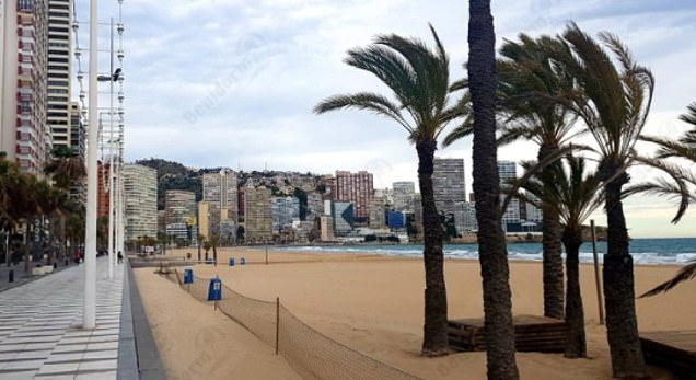 A deserted Levante beach in Benidorm on Tuesday as the Government urged Britons not to book summer holidays in yet another blow for struggling airlines and holiday companies