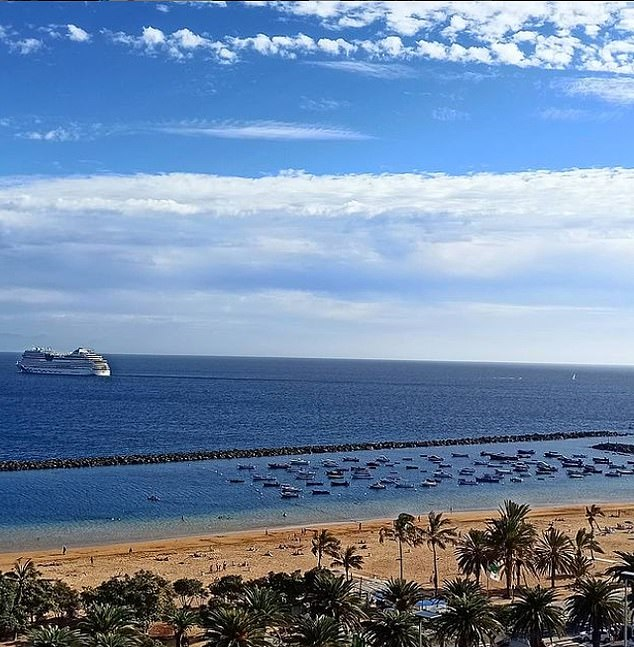 The beach in Santa Cruz in Tenerife was also quiet on Tuesday afternoon