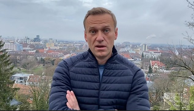 Navalny (pictured) maintains that Russian President Vladimir Putin ordered his assassination. The 44-year-old was admitted to a Berlin hospital in August for suspected novichok poisoning