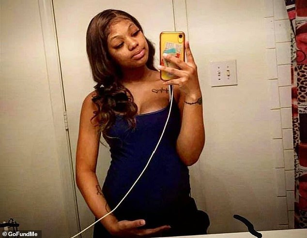 Kiara Hawkins, 19, (pictured) was also killed, along with her unborn baby