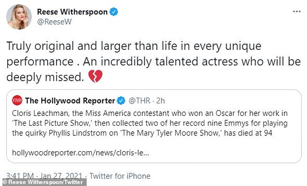 Deeply missed: 'Truly original and larger than life in every unique performance. An incredibly talented actress who will be deeply missed,' wrote Reese Witherspoon, 44, who shared her homage to Twitter