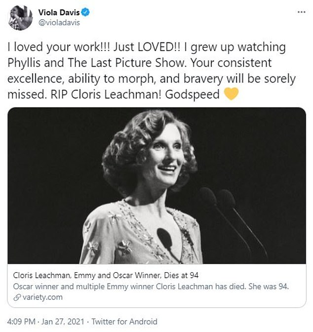 Lots of love: Viola Davis gushed over how much she 'LOVED' Cloris work, specifically her performance in the 1970s sitcom Phyllis, which aired on CBS for two seasons
