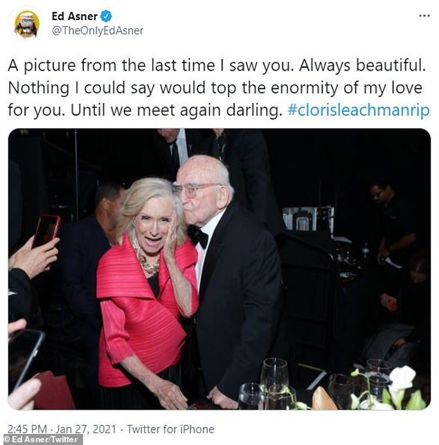 Their last hangout: Ed Asner paid tribute to his longtime friend by uploading a sweet snapshot from 'the last time [he] saw [Cloris]'