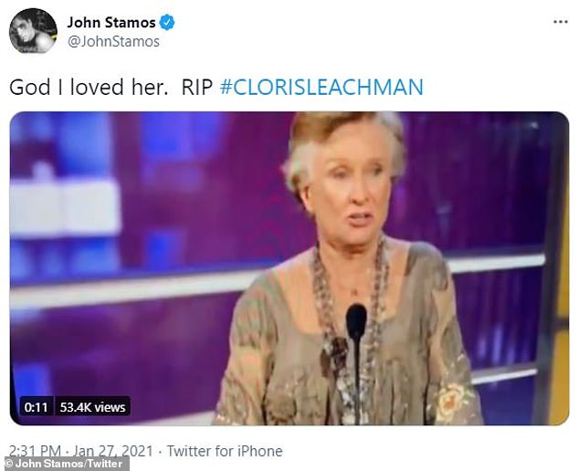 Hilarious: John Stamos also made sure to honor Leachman's undeniable legacy by sharing a hilarious clip of her from the Comedy Central Roast of Bob Saget in 2008