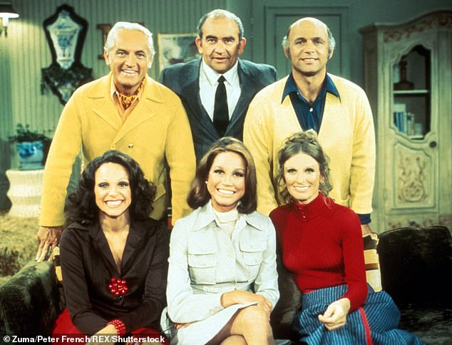 The Mary Tyler Moore Show: Mary Tyler Moore, Edward Asner, Ted Knight, Gavin Macleod, Valerie Harper & Cloris Leachman pictured on set of the Mary Tyler Moore Show in 1974