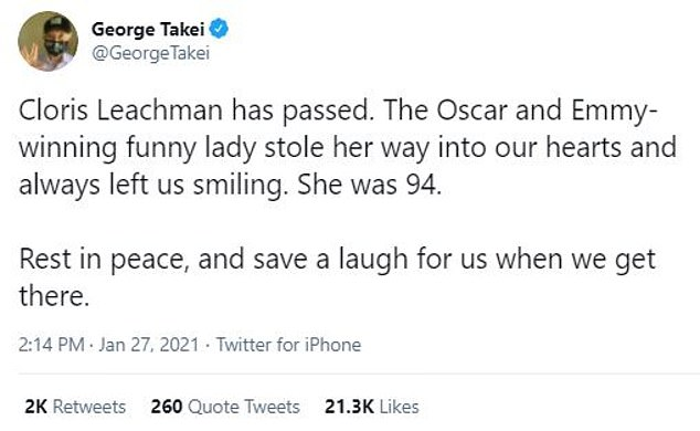 Regretful: Star Trek actor George Takei regretfully informed his 3.2million Twitter followers on Leachman's sudden passing, writing: 'Cloris Leachman has passed'