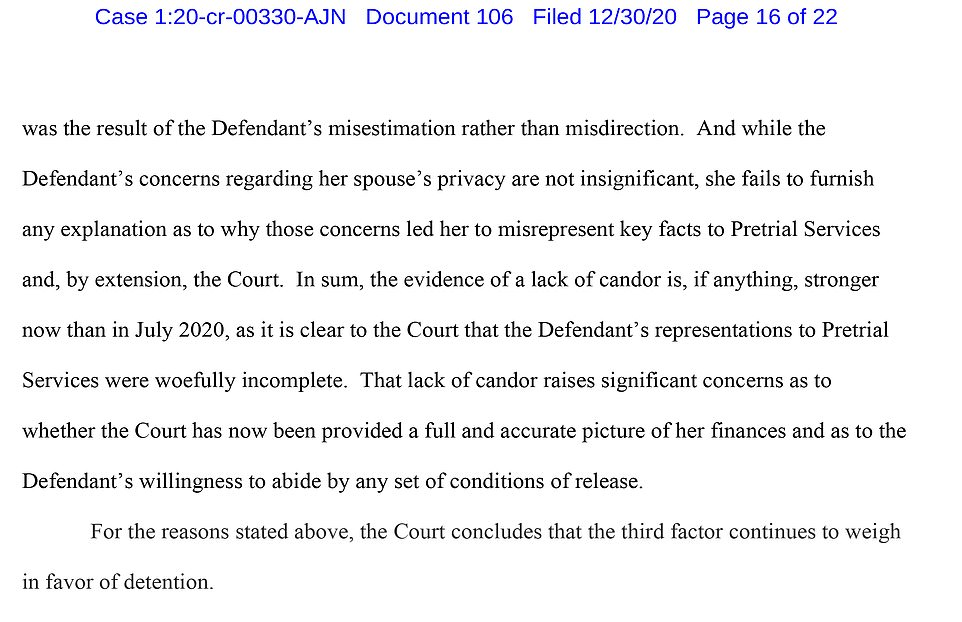 Judge Nathan wrote that Maxwell was guilty of 'misdirection' to the court by failing to disclose her true worth the first time around