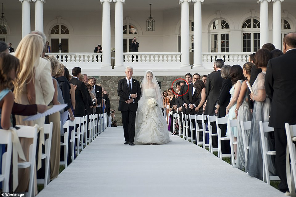 Ghislaine Maxwell, circled, pictured at the wedding ofChelsea Clinton in 2010