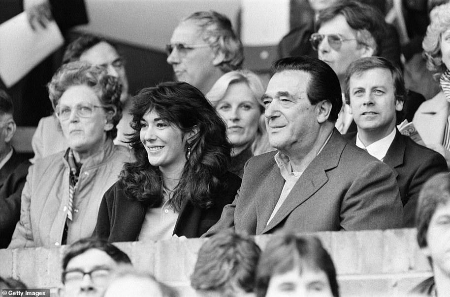 Robert Maxwell with his 'favourite' daughter Ghislaine watching the Oxford vs Brighton football match in October 1984