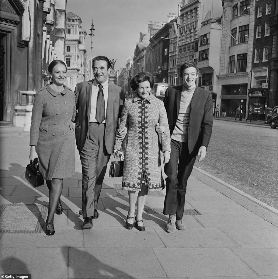 Robert Maxwell (second left) with his wife Elisabeth (second right) and children Anne and Philip outside the Royal Courts of Justice on the Strand in 1971