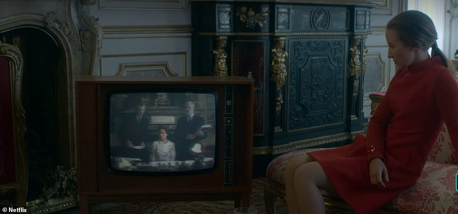 Princess Anne (Erin Doherty) is seen watching the documentary about her family in a scene of the Crown, from season 3, episode4