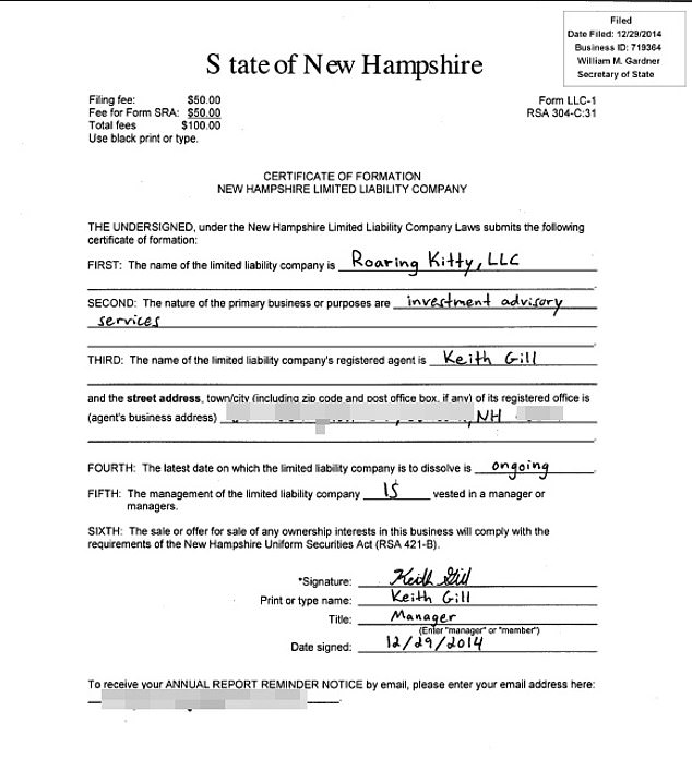 DailyMail.com obtained a certificate of formation for Gill's Roaring Kitty, LLC