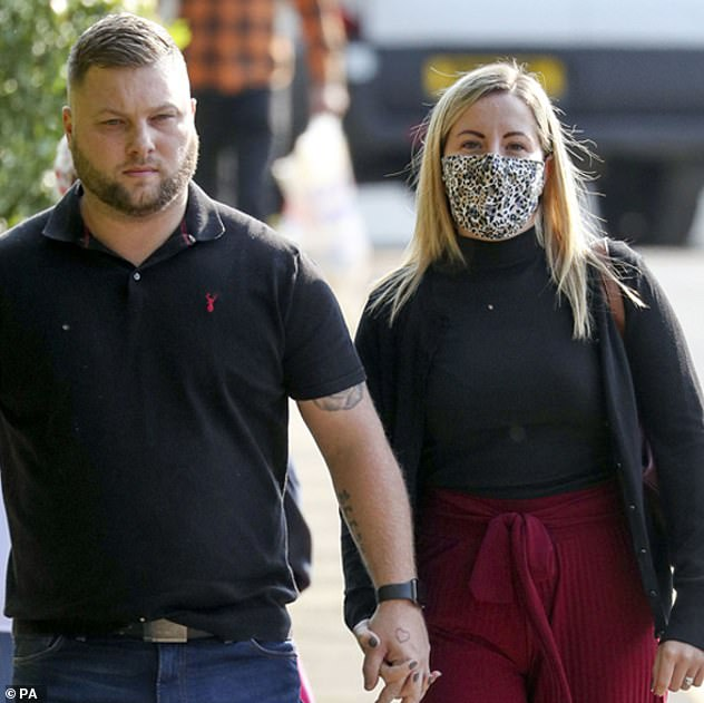 Kandice Barber who arrived at court with her husband Daniel during parts of the trial