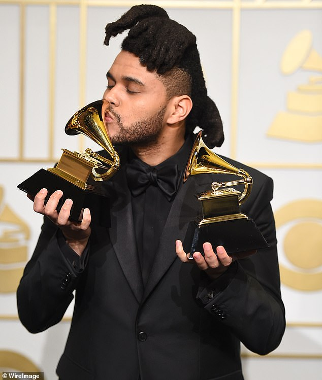 Not his focus:'Look, I personally don't care anymore. I have three Grammys, which mean nothing to me now, obviously,' began the 30-year-old singer-songwriter; The Weeknd pictured in 2016