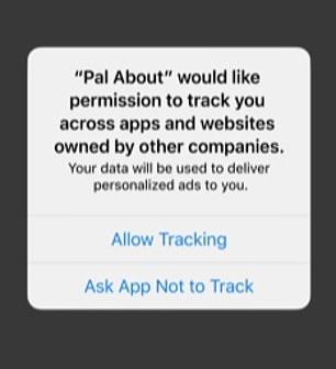 This is what it will look like on the Apple update when apps ask for your permission to 'track' - meaning deliver targeted ads