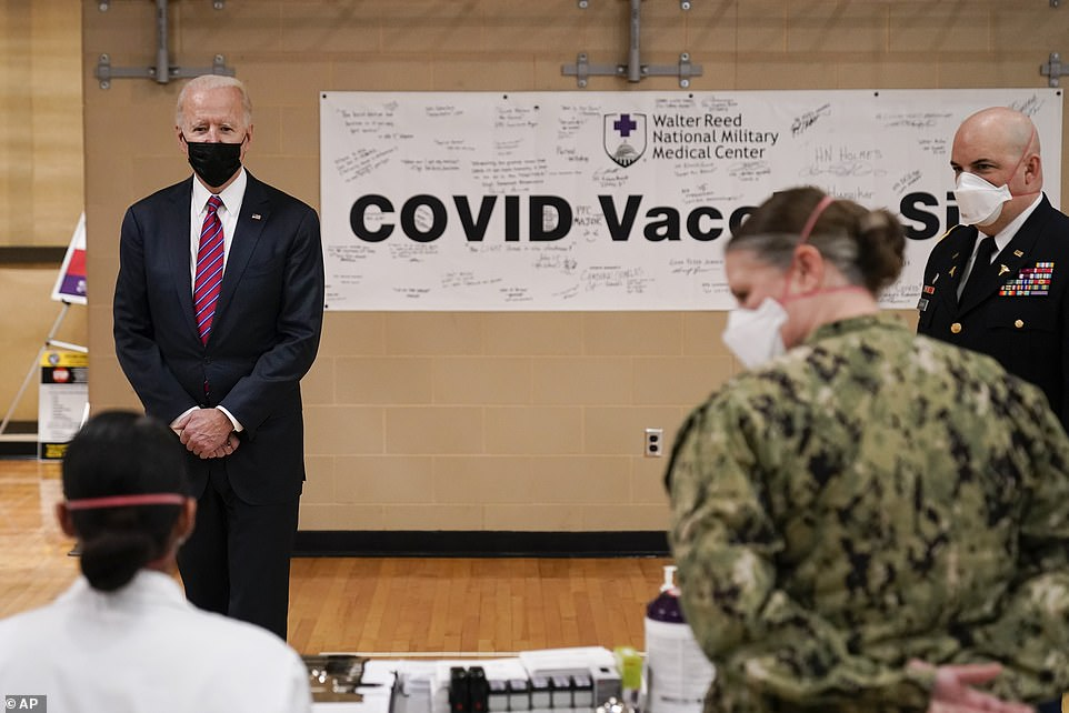 Biden toured an area of Walter Reed where service members received the COVID vaccine