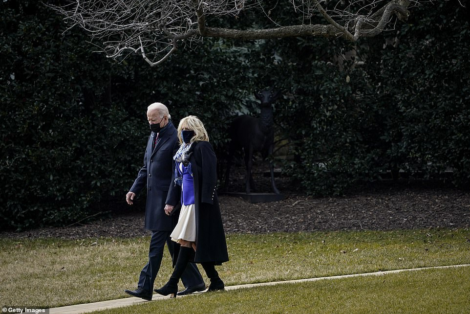 First lady Jill Biden walked President Joe Biden to Marine One before he departed for Walter Reed National Military Medical Center to visit wounded troops