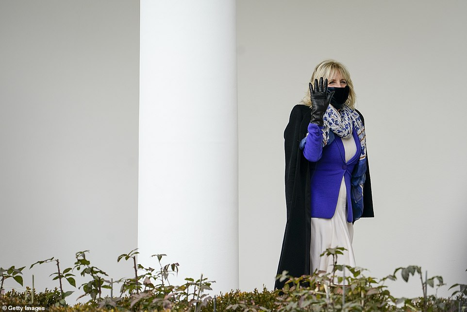 Jill Biden waved goodbye to Marine One when it took off with her husband on board