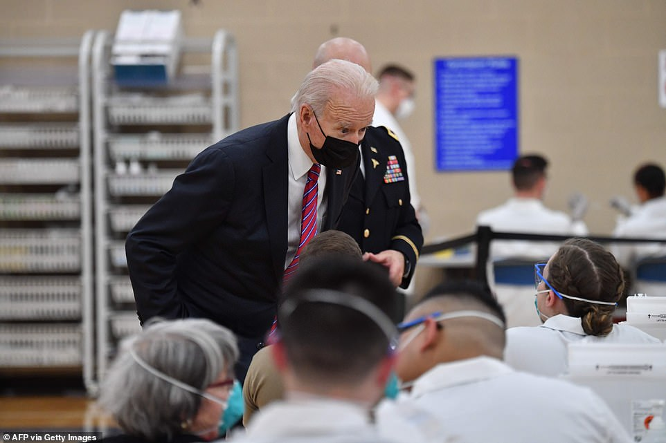 President Biden speaks with staff at Walter Reed National Military Medical Center