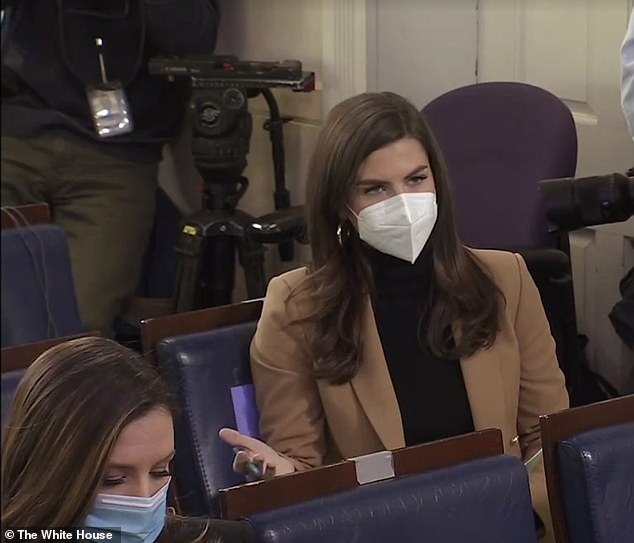 New faces: Among those in the room wereKaitlan Collins (pictured), who was just namedchief White House correspondent for CNN