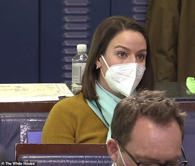 Topics: Questions at the briefing covered immigration, vaccine distribution, and foreign affairs. Univision's Janet Rodriguez is pictured