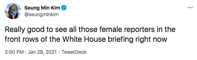 'Really good to see all those female reporters in the front rows of the White House briefing right now,' Washington Post White House Reporter Seung Min Kim chimed in