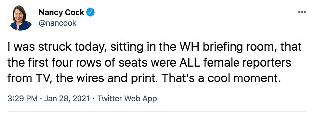 Nancy Cook of Bloomberg News remarked: 'I was struck today, sitting in the WH briefing room, that the first four rows of seats were ALL female reporters from TV, the wires and print'