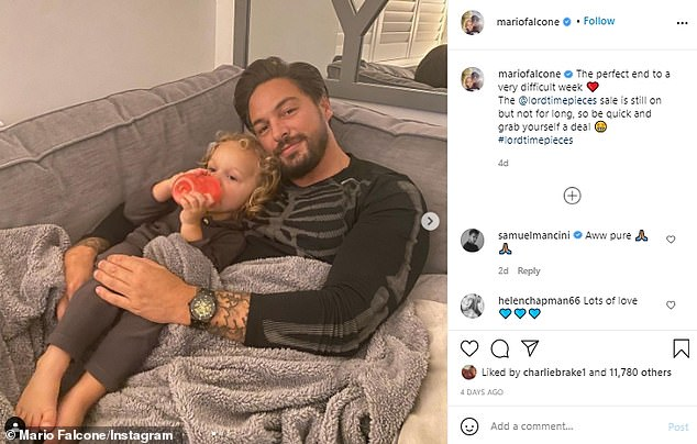 'Difficult week': Mario, pictured with son Parker, is the latest reality star to be criticised for travelling abroad while continuing to post old Instagram pictures online
