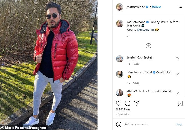 'Sunday strolls': Mario has uploaded a series of photos to Instagram the past week, including a picture of him wrapped up in a red puffer jacket and wearing trainers