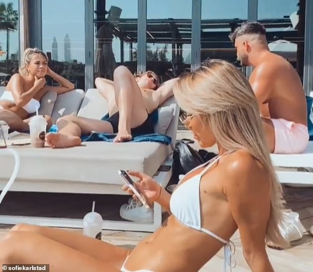 Living it up: Instagram influencers posted photographs of themselves still in Dubai on Friday despite the UK travel ban coming into force