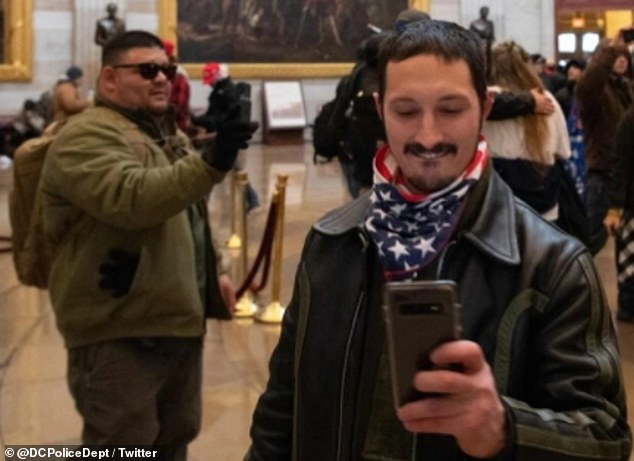 Fellow Proud Boys member William Pepe (pictured) 31, was also indicted on charges including conspiracy, civil disorder and unlawfully entering restricted buildings or grounds