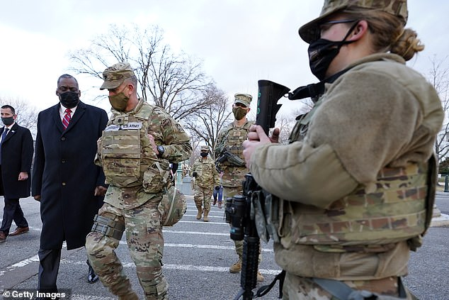 Secretary of Defense Lloyd Austin visited National Guard troops deployed at the U.S. Capitol and its perimeter on Friday