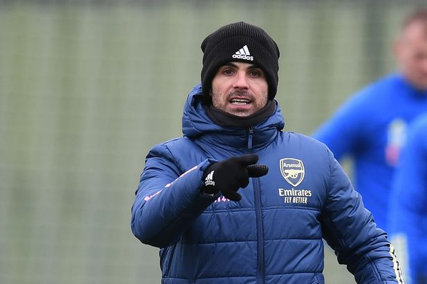 Mikel Arteta during a training session at London Colney