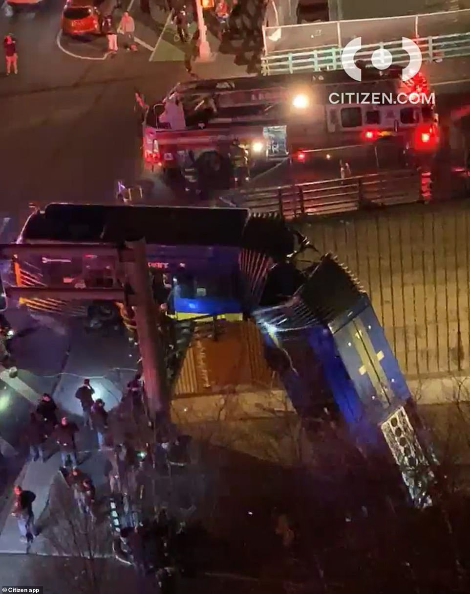 At least eight hospitalized as New York City bus falls off overpass
