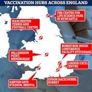 Boris Johnson reveals seven Covid vaccination centres will open across England next week