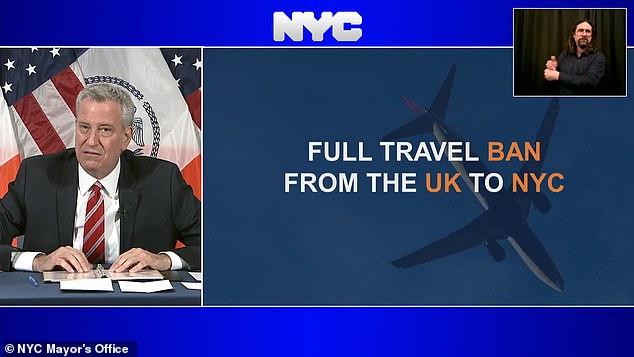 COVID-19 US: De Blasio wants FULL UK travel ban due to super strain