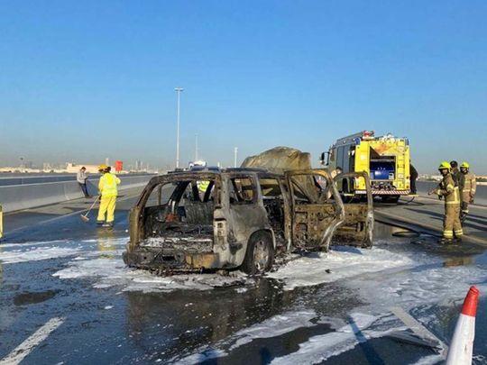 Car catches fire on Dubai's Al Qudra Road
