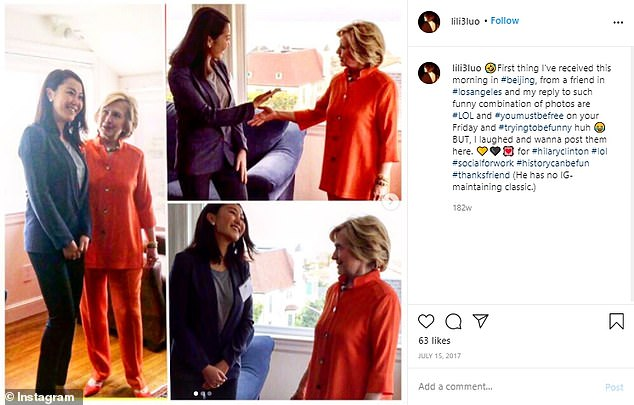An American-Chinese socialite has allegedly died in Hong Kong after plunging from her penthouse naked while carrying her five-month-old daughter in her arms. Ms Luo was pictured meeting with former US Secretary of State Hillary Clinton, according to her Instagram